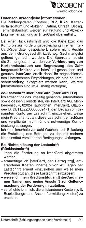 Lastschrifttext-Intercard